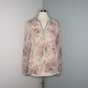 BKE Boutique | Sheer Cream Floral Beaded Top